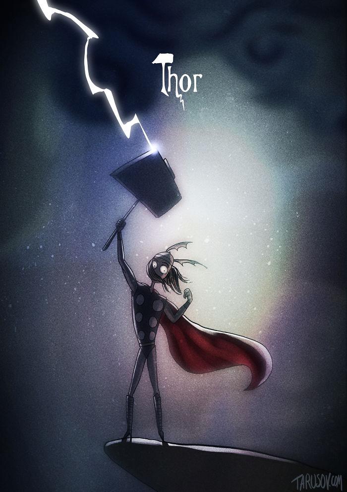 tim-burton-super-herois-thor-deus-trovao